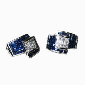 Earrings in 18k White Gold Sapphire and Princess Cut Diamonds Invisibly Set
