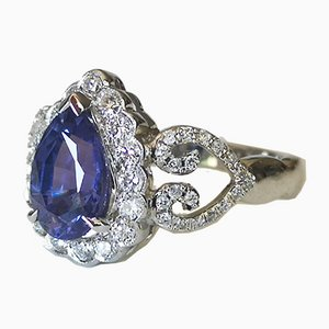 Ring in 18k White Gold Sapphire Pear Unheated and Color Change of 1.98 Karat Diamonds