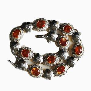 Bracelet en Or Souple 18-Karat avec Diamants Blancs et Saphir Orange
