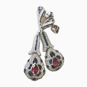 White Gold Earrings 18k Art Deco Tourmalines 4 Karat Sapphires 2.2 k Diamonds, Set of 2