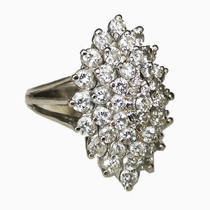 Bague Marquise en Or Blanc avec Diamants de 2.5 Carats
