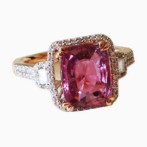 Anello in oro 18 carati con zaffiro rosa, 3,52 carati, viola