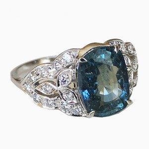 Ring in Weißgold 3.36 Unbeheizter Saphir und Diamanten
