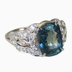 Ring White Gold 3.36 Unheated Sapphire and Diamonds