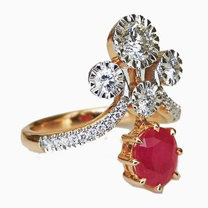Ring in Pink Gold 18 Karats and White Gold 750 Ruby not Heated and Diamonds