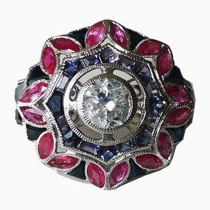 Bague Dorée en Or 18k Art Deco en Forme de Diamant Ronde 1.09 Karat Saphirs et Rubis