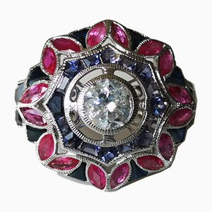Gold Ring 18k White Art Deco Diamond-Shaped Daisy Round 1.09 Karat Sapphires and Ruby