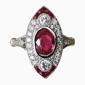 Unbeheiztes 18 Karat Art Deco Rubin Gold mit Diamanten von 1,36 Karat