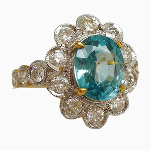 Ring White Gold 18kt Blue Zircon from Cambodia 3.3k and Diamonds