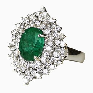 Gold Ring 18 Karat Emerald Diamond of 2.4 Karats