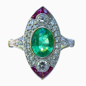 Marquise Ring in Gold Art Deco Style with Ruby Emerald and Diamonds