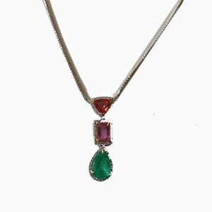 Hängelampe und Kette aus 18 kt Gold und Platin mit Unwärmtem Diamanten aus Kolumbien Emerald, Pink Sapphire & Orange