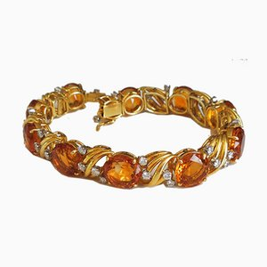 Bracelet Doré Orné de Citrines et de Diamants