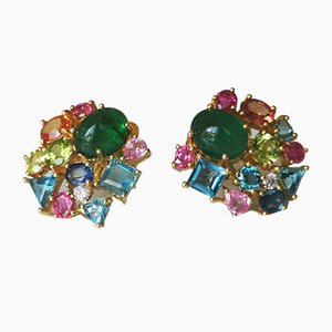 Gold Earrings 18k Yellow Colombian Emeralds 6.8k and Fine Stones 8k, Set of 2