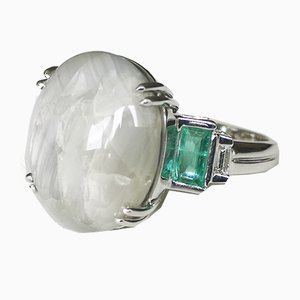 18k White Gold Ring Large 25k Unheated Cabochon Sapphire, Burmese Emeralds & Diamonds