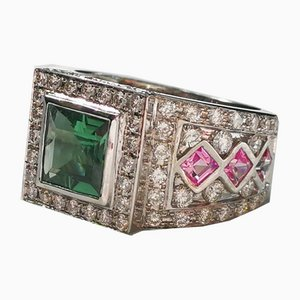18k White Gold Ring Adorned with 1.3k Green Princess-Cut Tourmaline with Pink Sapphires & Diamonds
