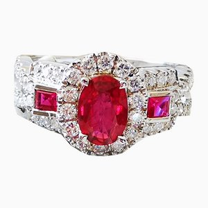 Gold Ring 18k Rubies and Diamonds Art Deco Style