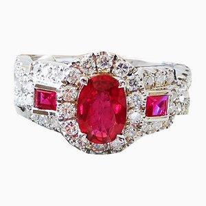 Ringförmiger 18 Karat Rubin und Brillianten Ring im Art Deco Stil