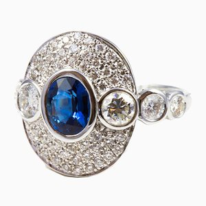 Ring in White Gold 750 Unheated Sapphire and Diamonds