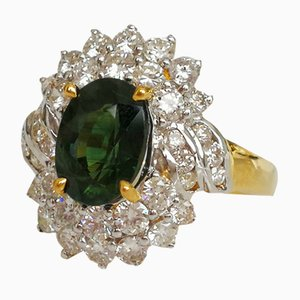 Ring in 750 White Gold 18Kt Green Sapphire and Diamonds