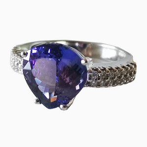 White Gold Ring 18Kt Tanzanite of 4.6 Karats and Diamonds
