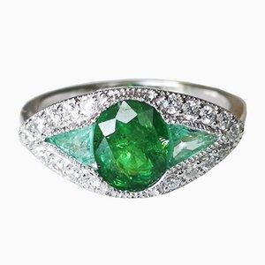 Centre Jonc Bague 750 Doré de Style Art Déco avec 2.25k Grenat Vert & Diamants Tsavorite