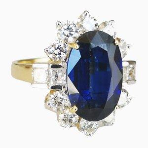Bague 18 Carat en Or Jaune avec Cyan 6 Karat et Diamants Taille Princesse Ronds