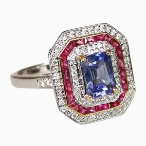 Ring in White Gold Art Deco Style Purple Sapphire 1.49 Karats Unheated, Color Change Calibrated Rubies & Diamonds