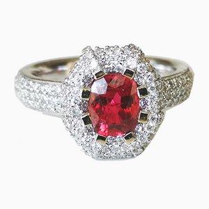 Bague en Or Blanc, Spinelle Rouge et Diamants