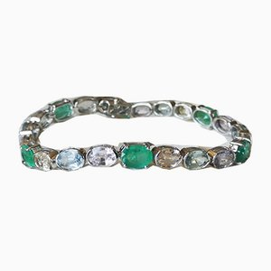 Flexible Bracelet in 18k White Gold Colored Unheated Sapphires & 16 Karats of Emeralds