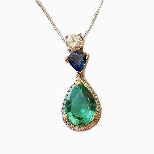 Kette und Anhänger aus Gold und Platin, Smaragdgrüner Diamant & Saphir aus Kolumbien