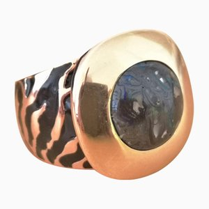 Ring in 18 Karat Yellow and Pink Gold Australian Opal and Enamel
