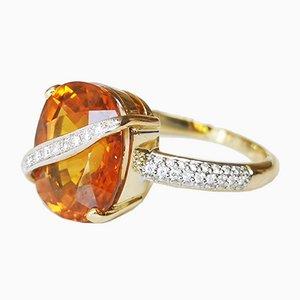 Bague Or Jaune 18 Carat Saphir Jaune 7.8 Carats et Diamants