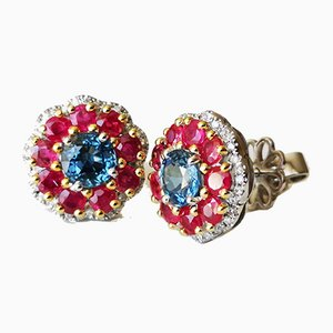 Earrings in White Gold, Sapphires & Diamonds, Set of 2
