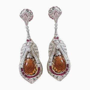 Boucles d'Oreilles Or Blanc 18K Art Deco Diamond & Citrine Jewels, Set de 2