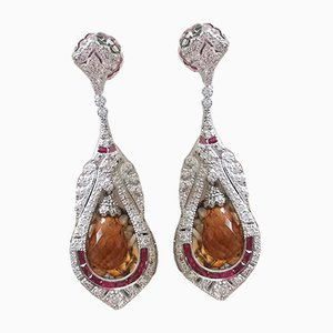 White Gold Earrings 18k Art Deco Diamond and Citrine Jewels, Set of 2