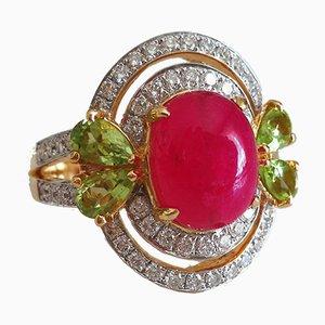 18K Yellow Gold Ring with Red Quartz, Diamonds & Peridot