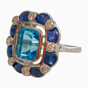 18K White Gold Ring with Blue Topaz, 3.7 K Sapphires & Diamonds