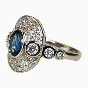 Ring aus 18 Karat Saphir in Weißgold & Diamanten in Weißgold