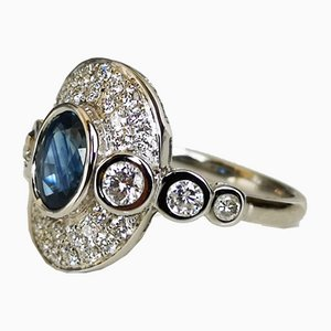 Ring in White Gold 18 Karats Sapphire & Diamonds
