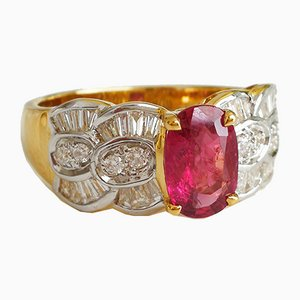 Gold 18 Karat Ring Unheated Rubies 1.46 Kt and Diamonds