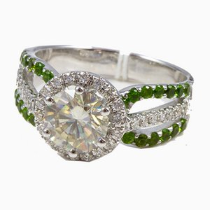 Ring in White Gold Adorned with Moissanite Green Garnets Diamonds