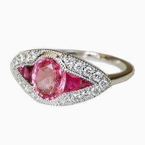 Weißgoldener 18K Ring Art Deco Stil mit burmesischem pinkem Spinell von 1,66 Karat, unbeheizt mit Rubin kalibrierten Diamanten