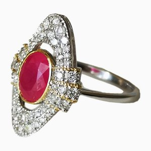 Ring in White Gold and 18k Yellow Art Deco Style Ruby ​​and Diamonds
