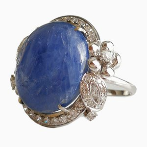 White Gold Ring with Sapphire Cabochon De 21k Unheated from Burma and Diamonds