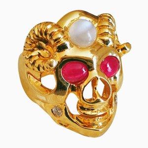 Ring aus Weißgold mit sapphire Cabochon De 21k Unbeheizten Elementen aus Birma und Diamanten