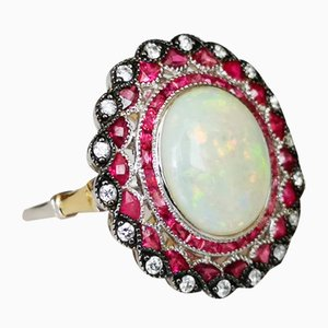 Ring in 18k Gold Art Deco Opal 3.3 Karat Rubies and Diamonds