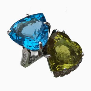 Ring White Gold 18k Blue Topaz 14 K and Peridot 9 K Diamonds