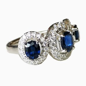 Ring in 750 White Gold 18 Karats with Sapphires and Diamonds