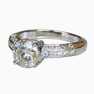 Bague Solitaire Moissanite Or Blanc 18K de 1.13 K et Diamants